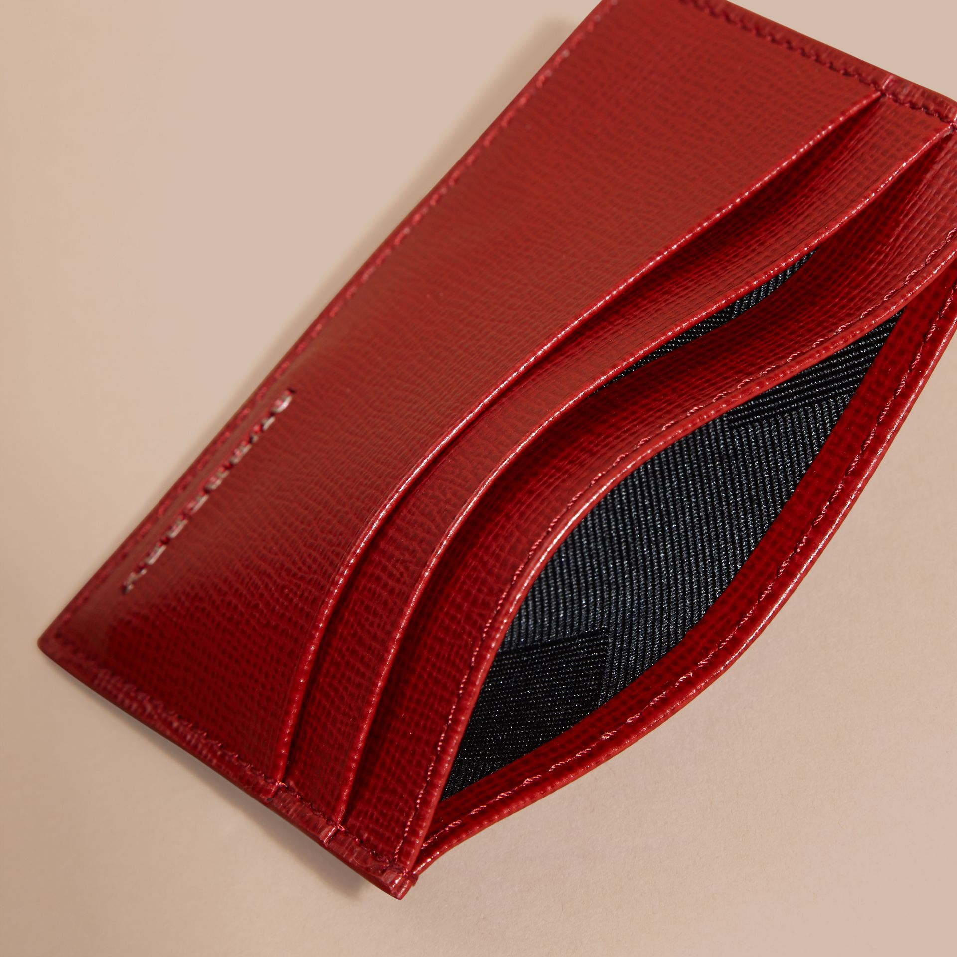 Dark military red London Leather Card Case - gallery image 5