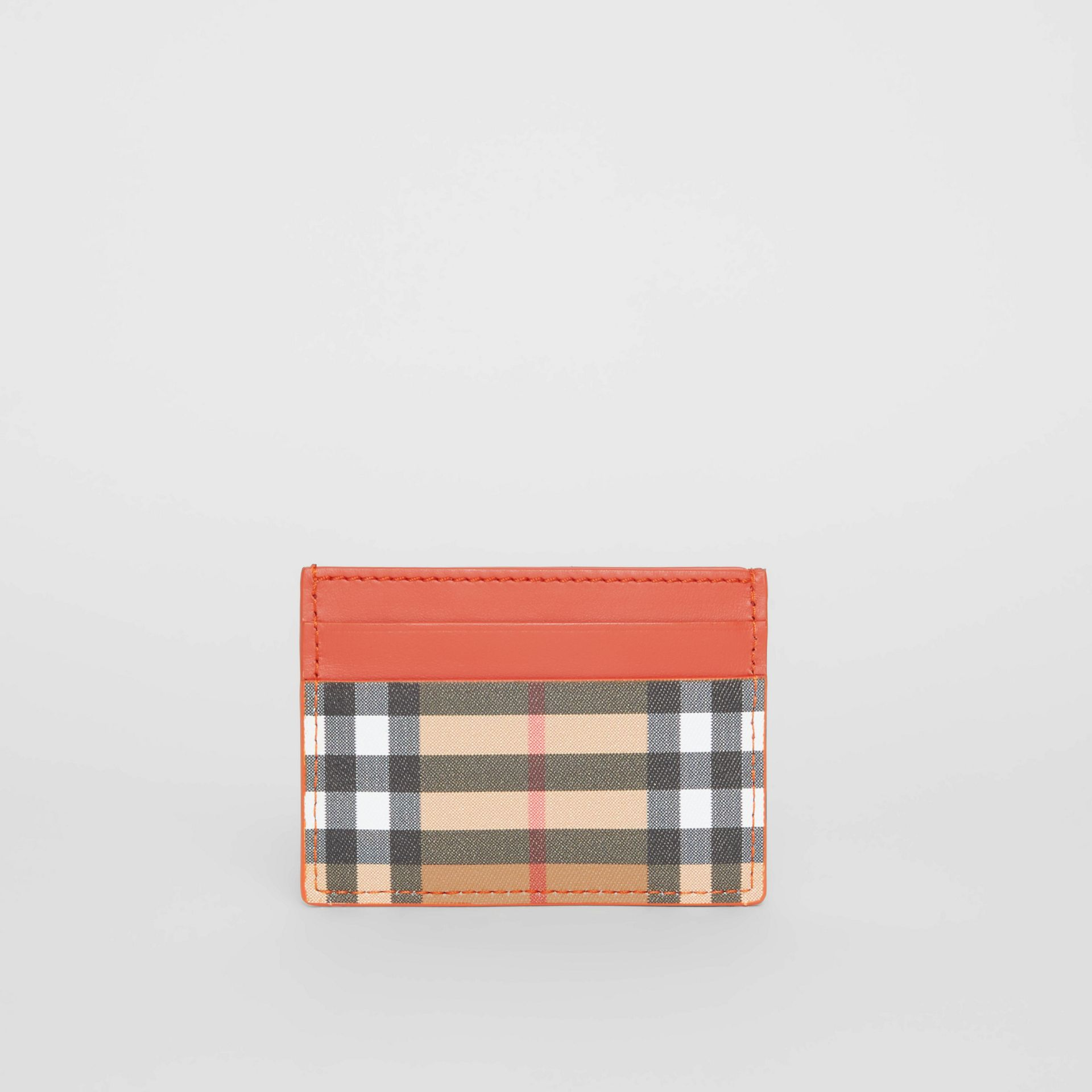 Vintage Check and Leather Card Case in Clementine - Women | Burberry Canada - gallery image 4