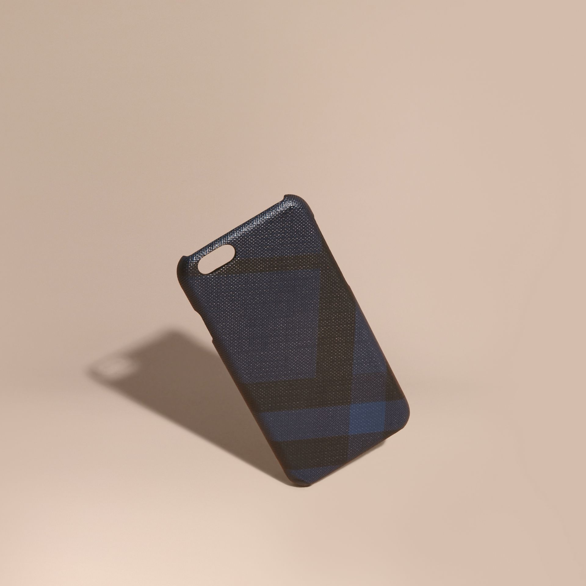 London Check iPhone 7 Case in Navy/black | Burberry United Kingdom - gallery image 1