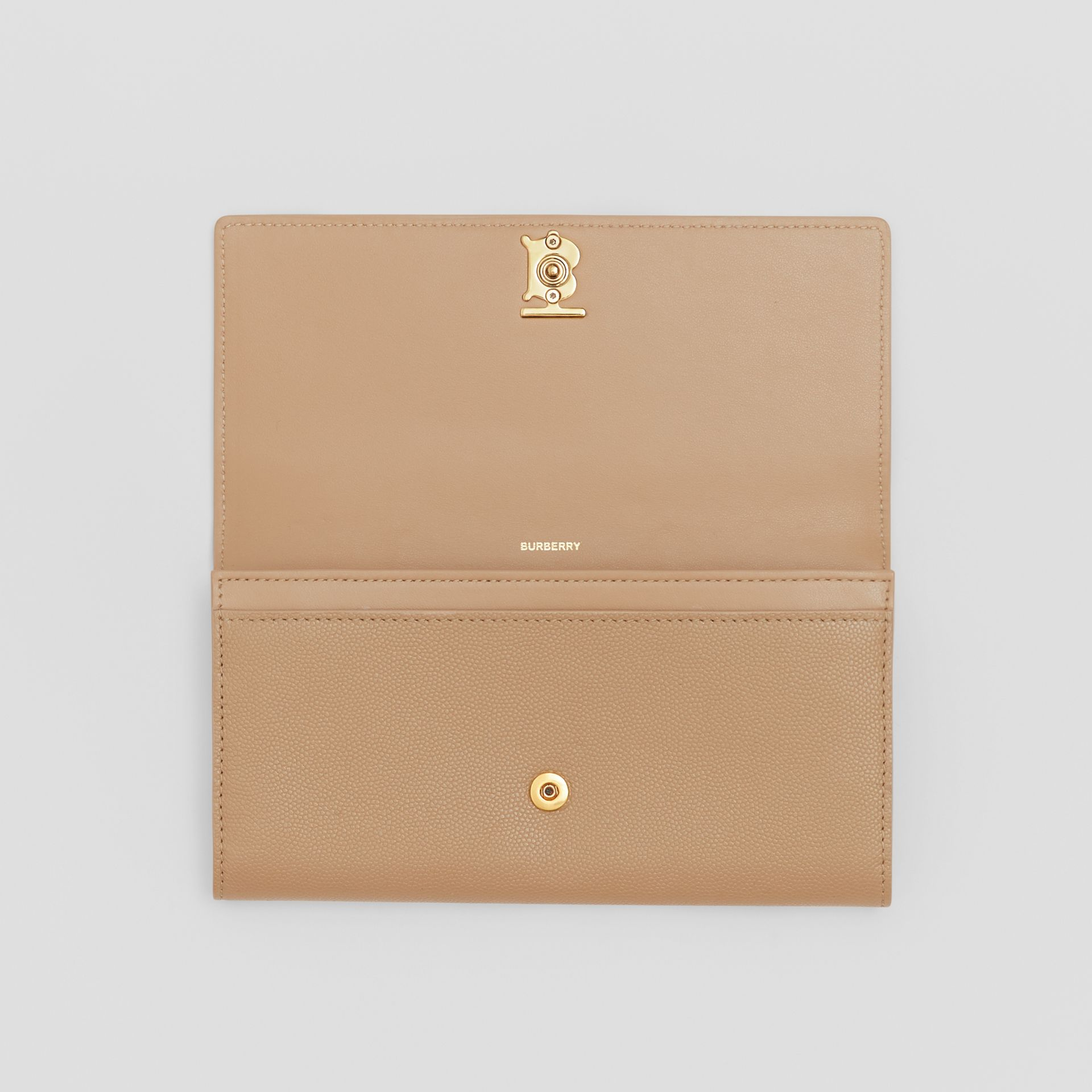 Monogram Motif Grainy Leather Continental Wallet in Archive Beige - Women | Burberry - gallery image 3