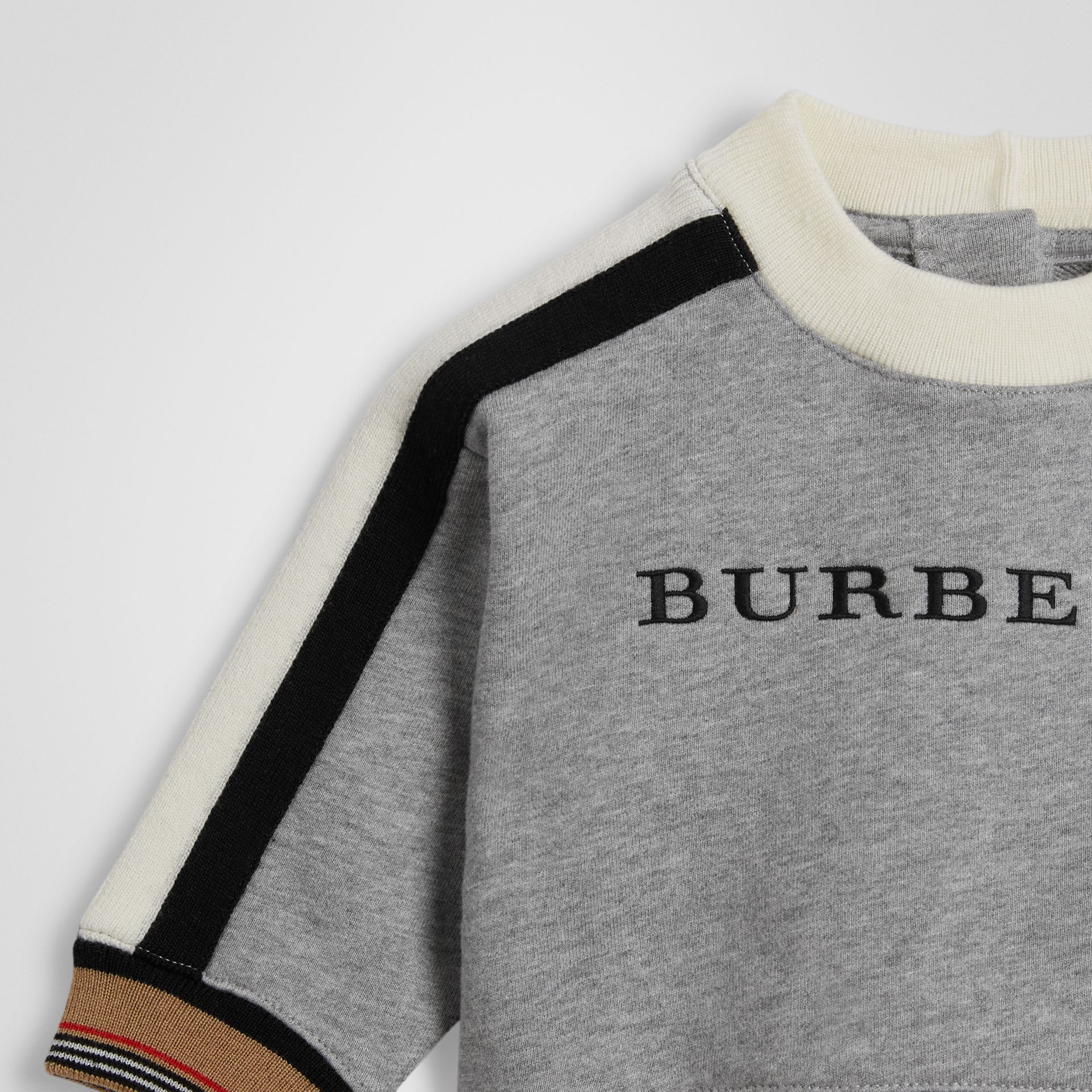 Embroidered Logo Cotton Sweatshirt in Grey Melange - Children | Burberry - gallery image 4