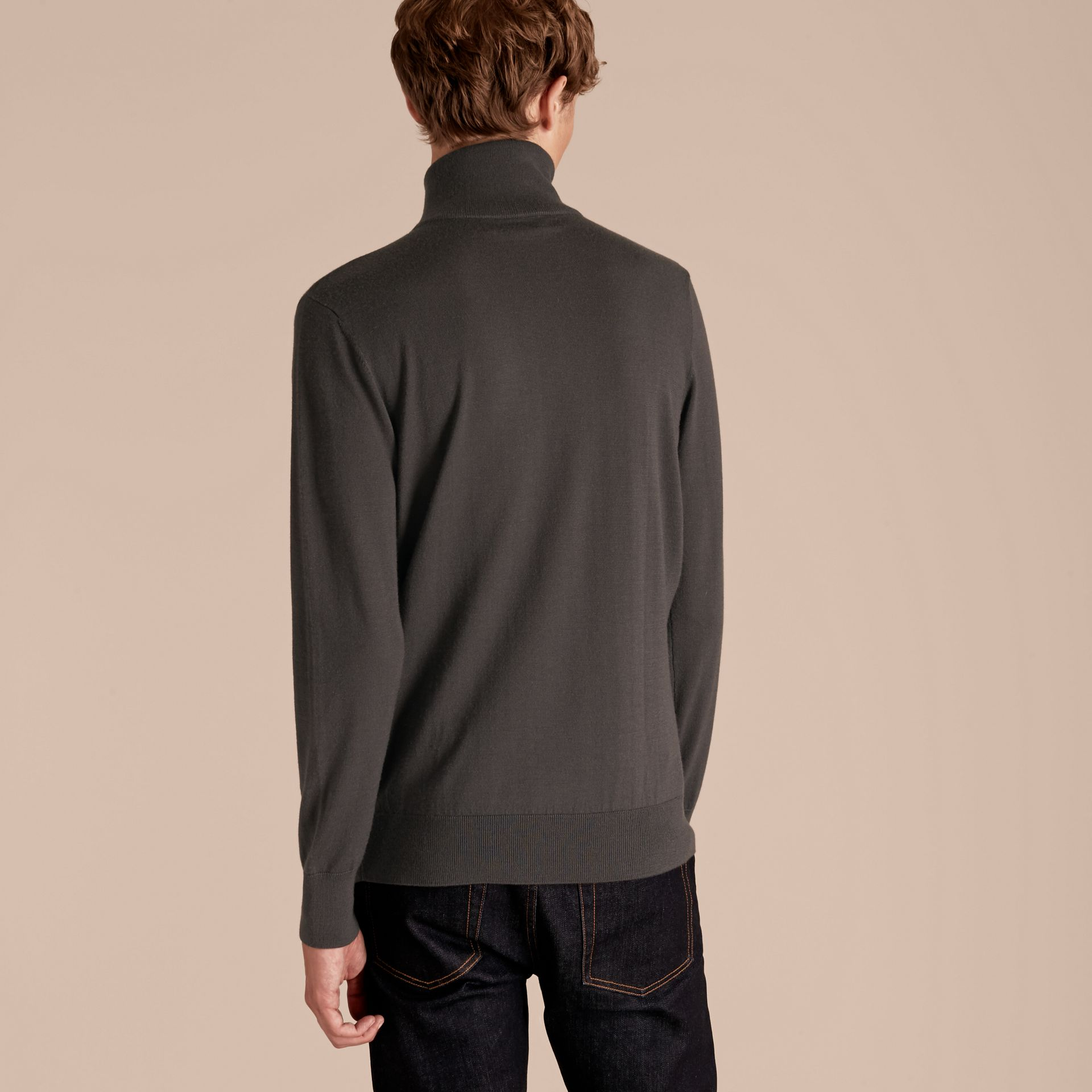 Mid grey melange Zip-collar Cashmere Sweater Mid Grey Melange - gallery image 3