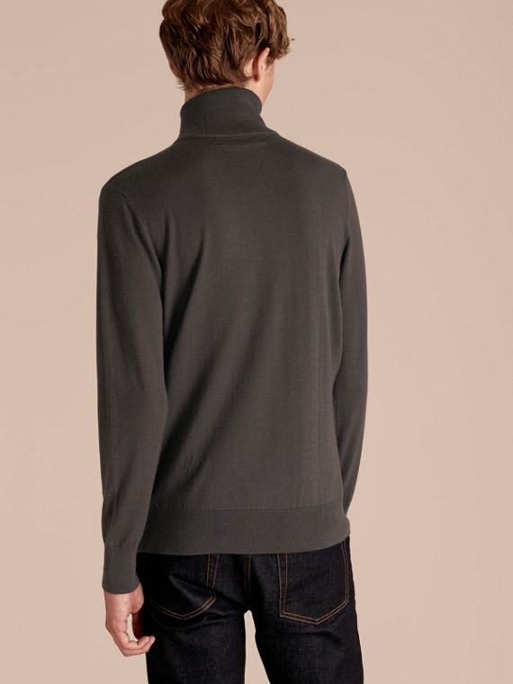 Zip-collar Cashmere Sweater in Mid Grey Melange - Men | Burberry - cell image 2