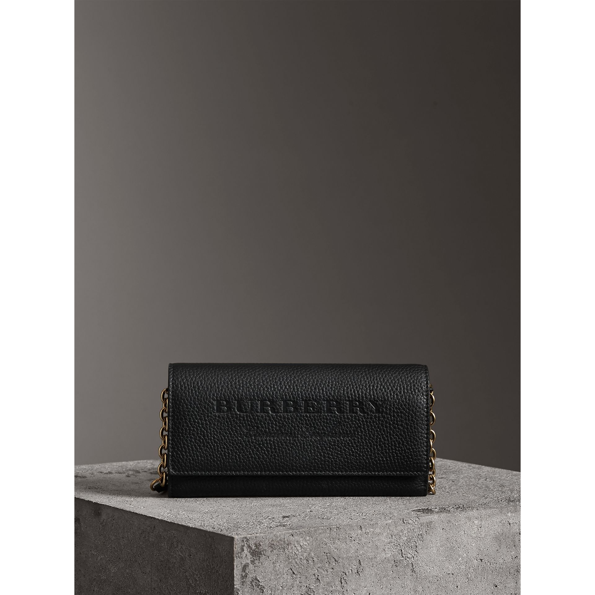 Embossed Leather Wallet with Chain in Black - Women | Burberry - gallery image 6