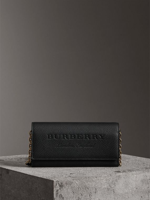 Embossed Leather Wallet with Chain in Black