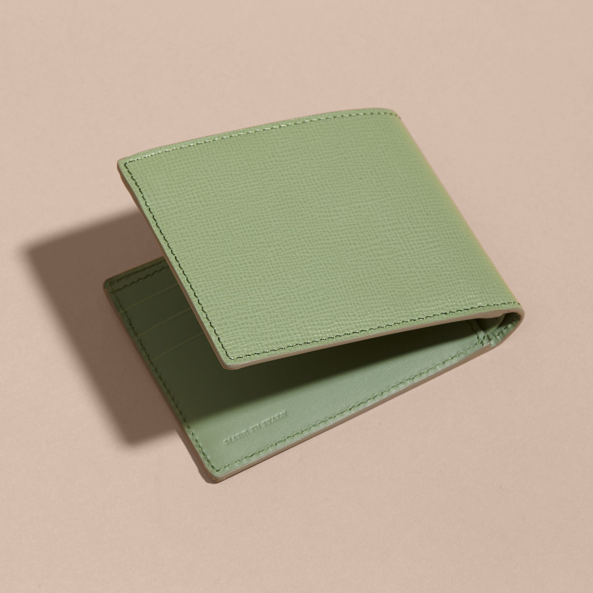 London Leather Slim Folding Wallet Antique Green - gallery image 4