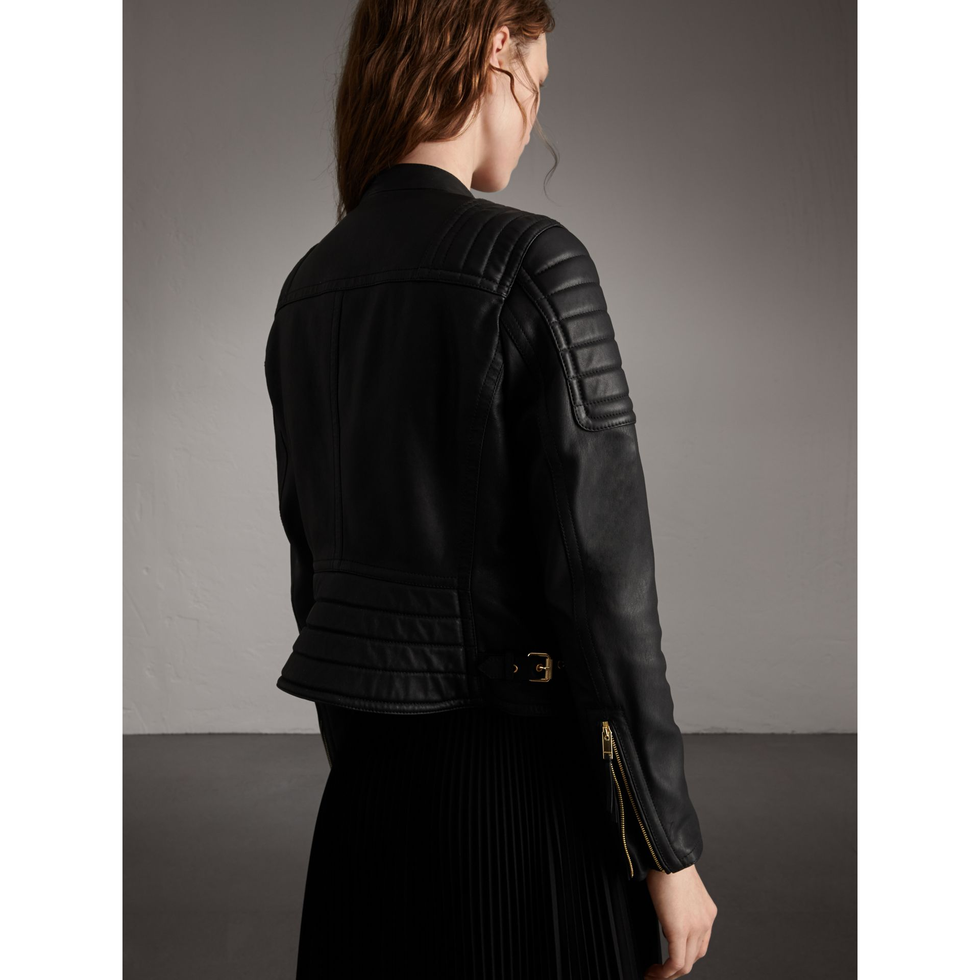Quilted Panel Lambskin Biker Jacket in Black - Women | Burberry - gallery image 3