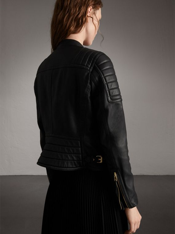 Quilted Panel Lambskin Biker Jacket in Black - Women | Burberry - cell image 2