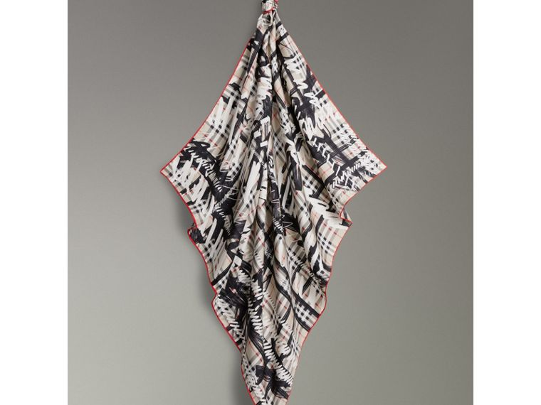 Scribble Check Silk Square Scarf in Stone | Burberry United Kingdom - cell image 4