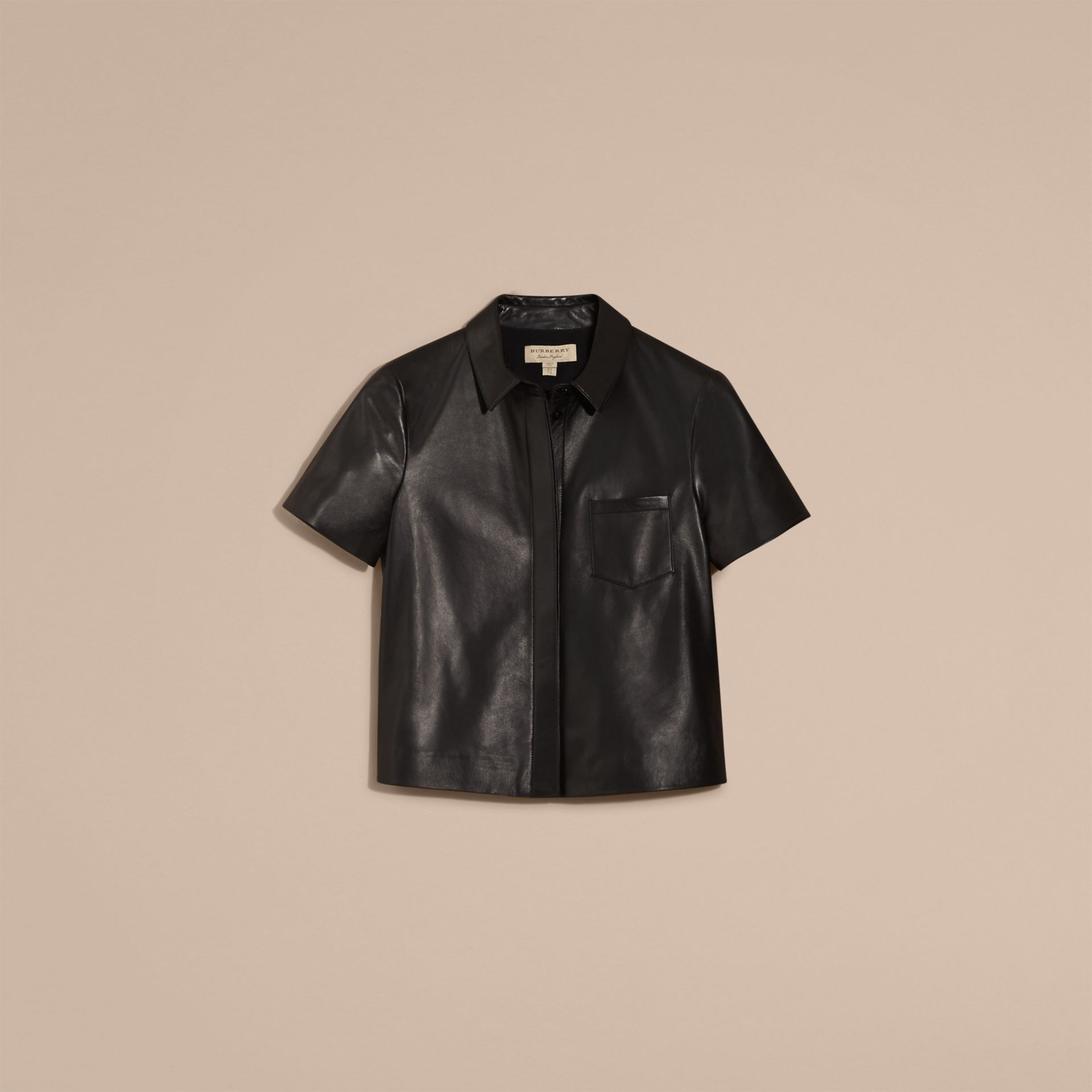 Black Short-sleeved Lambskin Shirt - gallery image 4