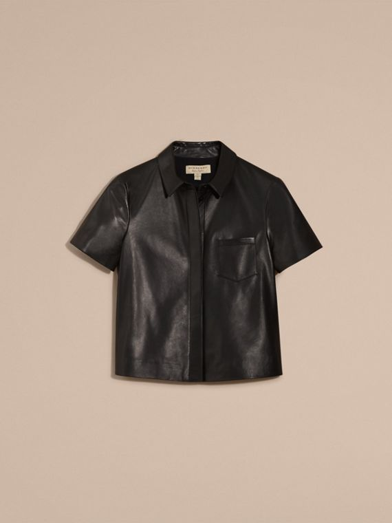 Black Short-sleeved Lambskin Shirt - cell image 3