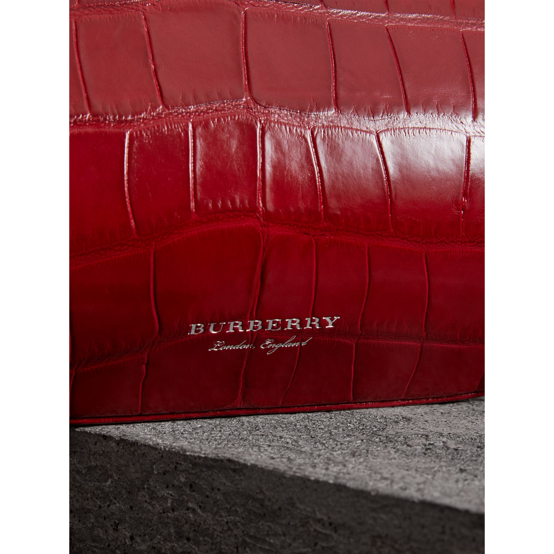 Small Alligator Metal Frame Clutch Bag in Bright Red - Women | Burberry - gallery image 1