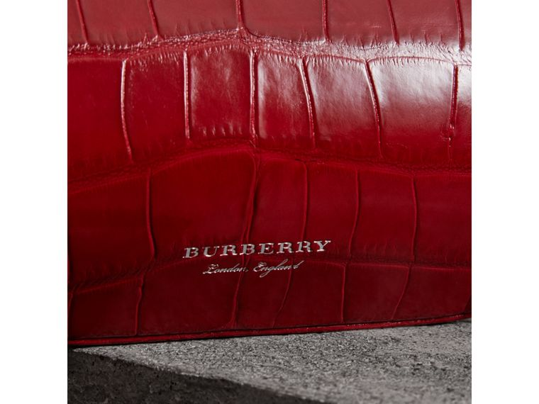 Small Alligator Metal Frame Clutch Bag in Bright Red - Women | Burberry - cell image 1