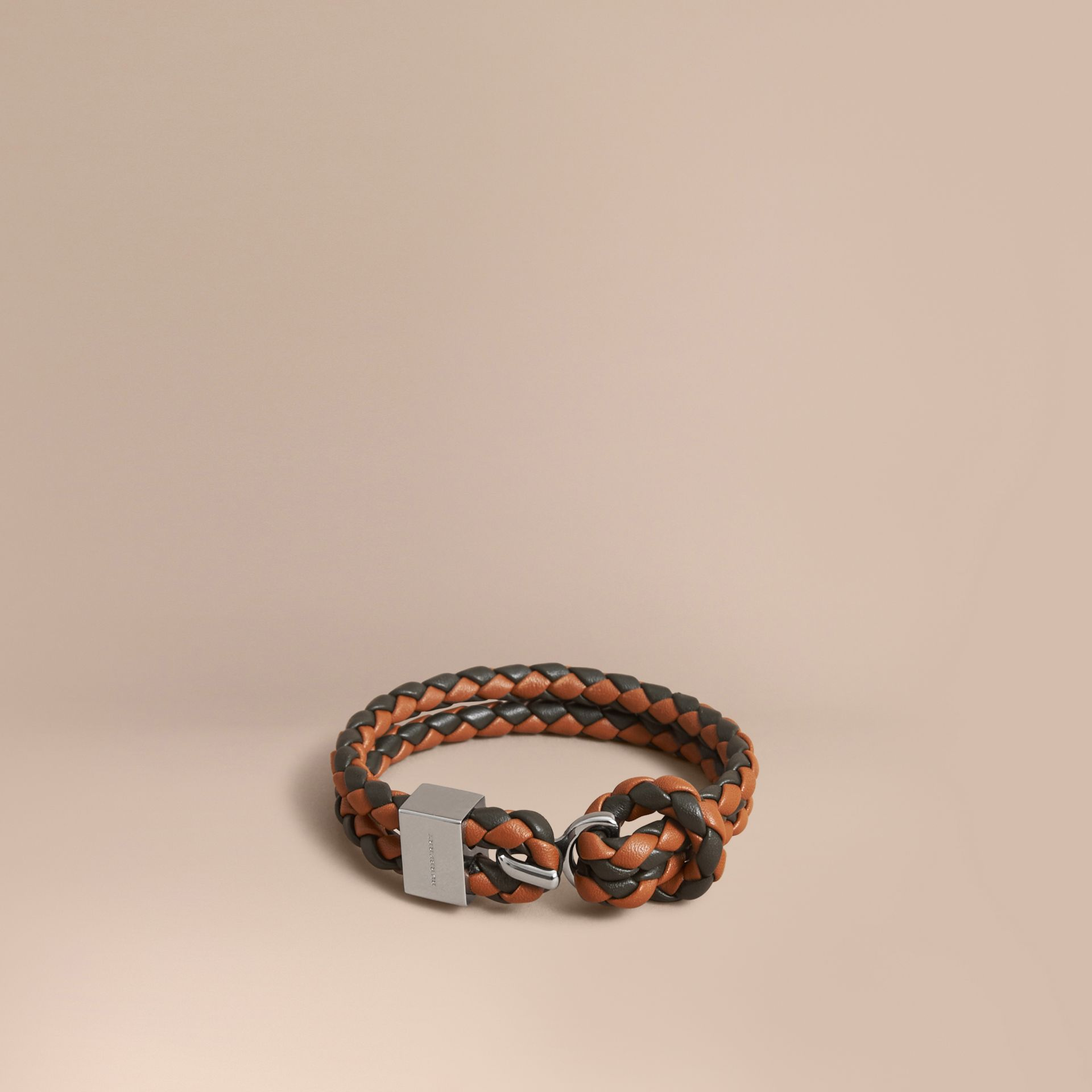 Two-tone Braided Leather Bracelet in Tan/black - Men | Burberry - gallery image 1