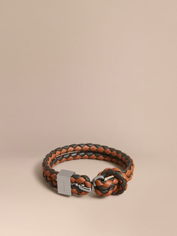 Two-tone Braided Leather Bracelet in Tan/black - Men | Burberry Singapore