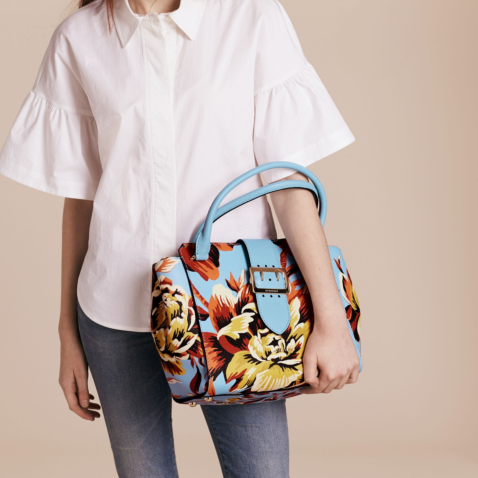 Pale blue/vibrant orange The Medium Buckle Tote in Peony Rose Print Leather Pale Blue/vibrant Orange - gallery image 3