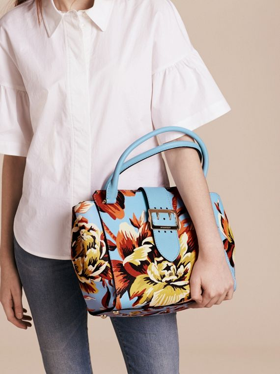 Pale blue/vibrant orange The Medium Buckle Tote in Peony Rose Print Leather Pale Blue/vibrant Orange - cell image 2
