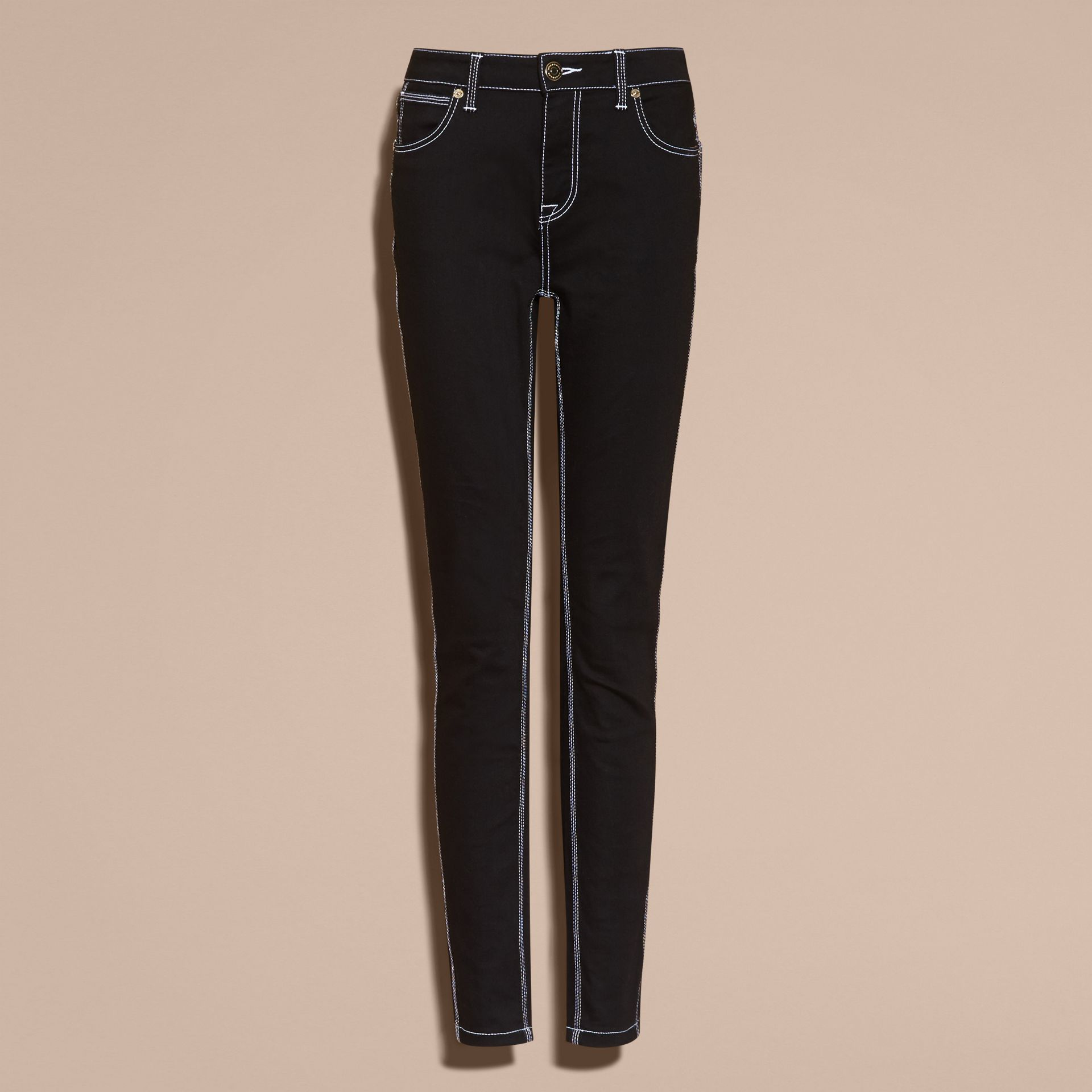 Black Skinny Fit Stretch Jeans with Contrast Topstitching - gallery image 4