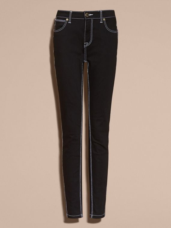 Black Skinny Fit Stretch Jeans with Contrast Topstitching - cell image 3