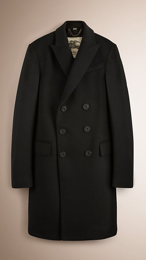 Black Wool Cashmere Peak Lapel Topcoat - Image 1