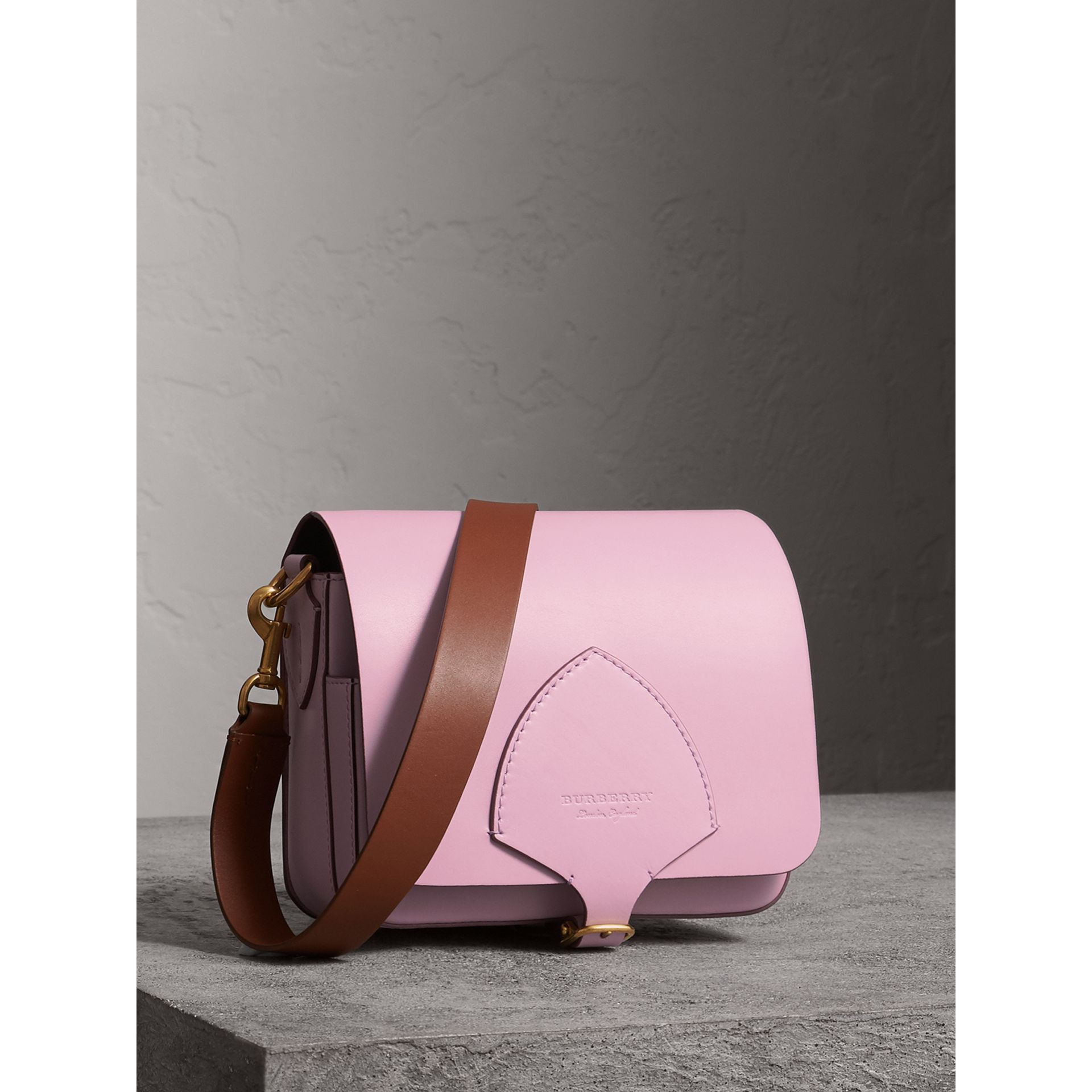 The Square Satchel in Leather in Pale Lavender - Women | Burberry United Kingdom - gallery image 7