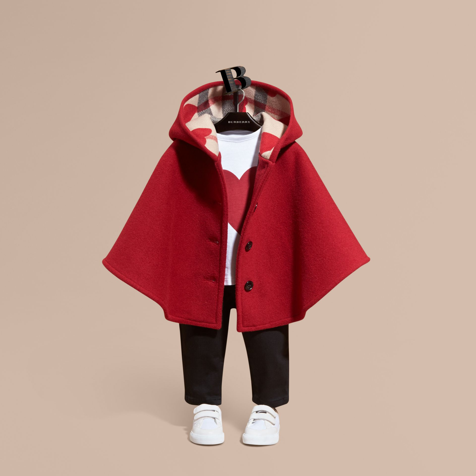 Windsor red Hooded Wool A-line Cape Windsor Red - gallery image 1