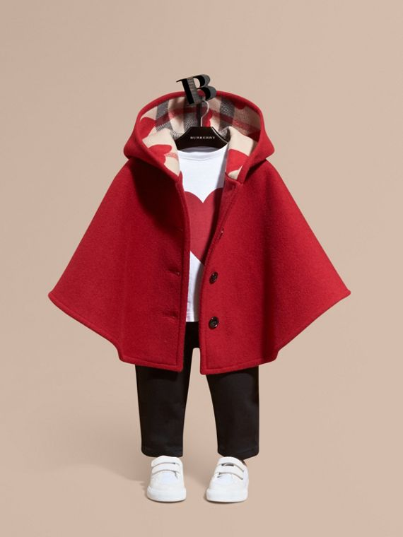 Hooded Wool A-line Cape Windsor Red