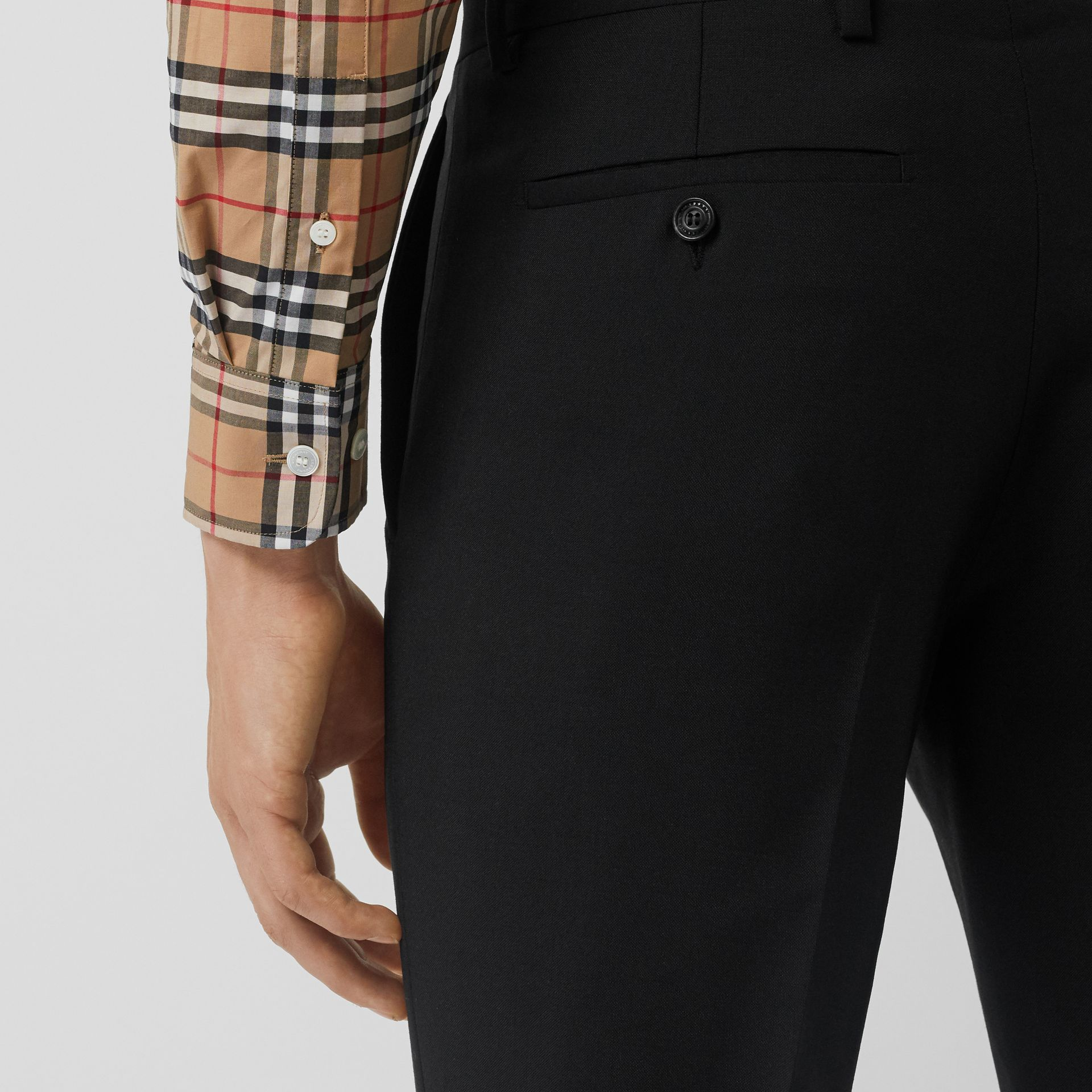 Classic Fit Wool Mohair Tailored Trousers in Black - Men | Burberry - gallery image 1