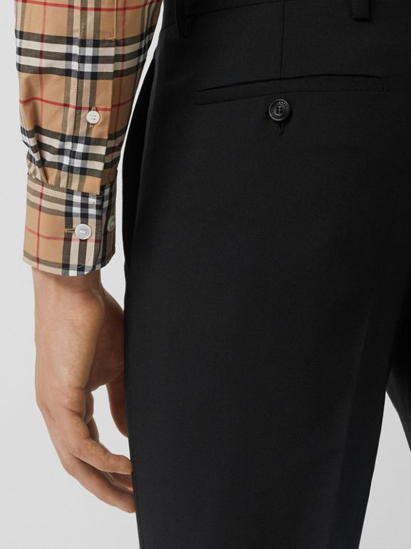 Classic Fit Wool Mohair Tailored Trousers in Black - Men | Burberry United Kingdom - cell image 1