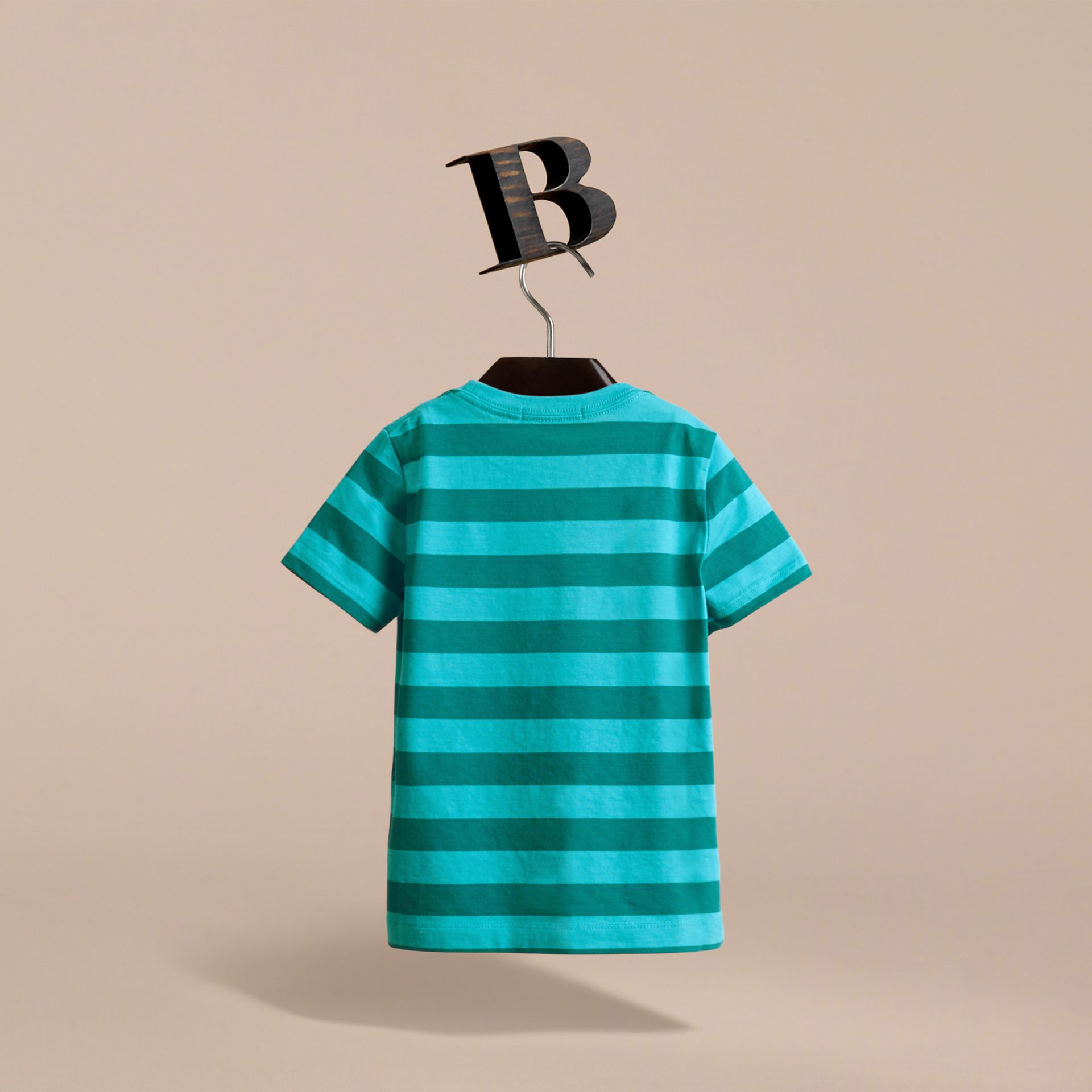 Striped Cotton T-Shirt in Bright Teal/dark Teal - Boy | Burberry - gallery image 4