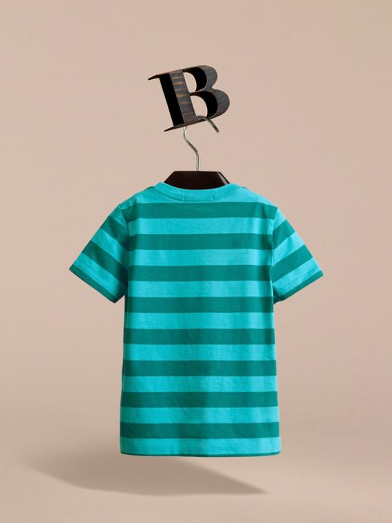 Striped Cotton T-Shirt in Bright Teal/dark Teal - Boy | Burberry - cell image 3
