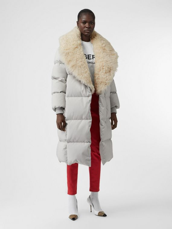 Detachable Shearling Collar Down-filled Puffer Coat in Pale Grey