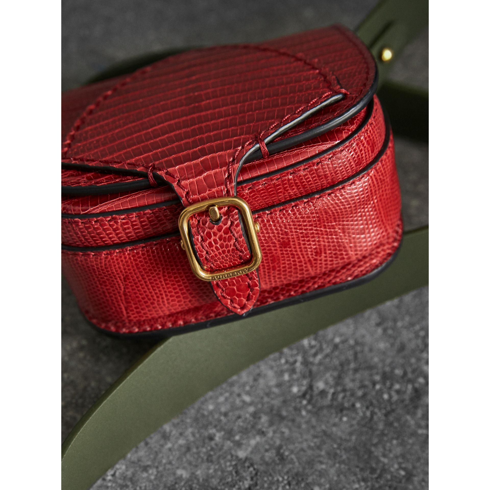 The Pocket Satchel in Lizard in Clove Red - Women | Burberry United Kingdom - gallery image 1
