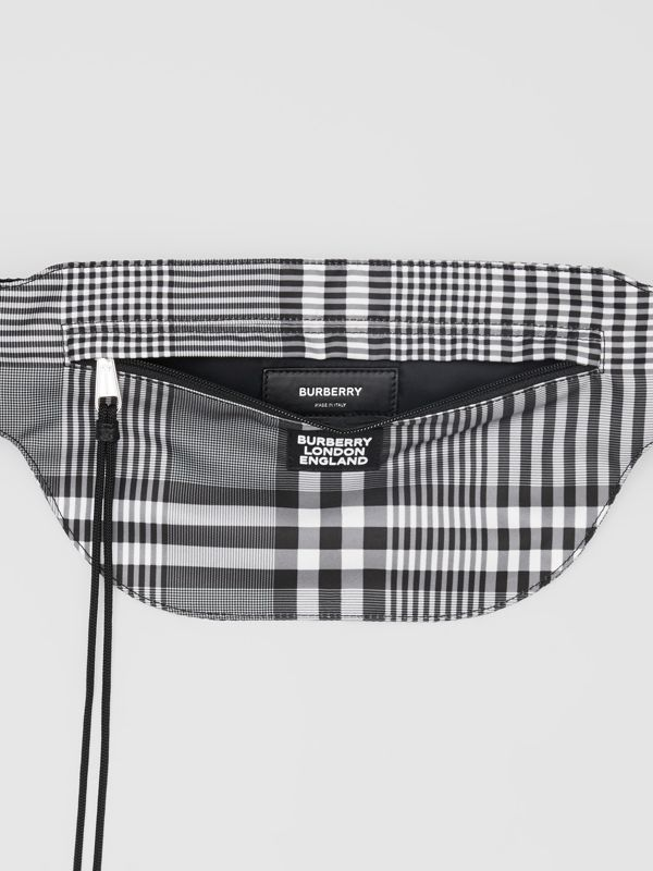 Logo Appliqué Check Brummell Bum Bag in Black/white - Men | Burberry United States - cell image 3