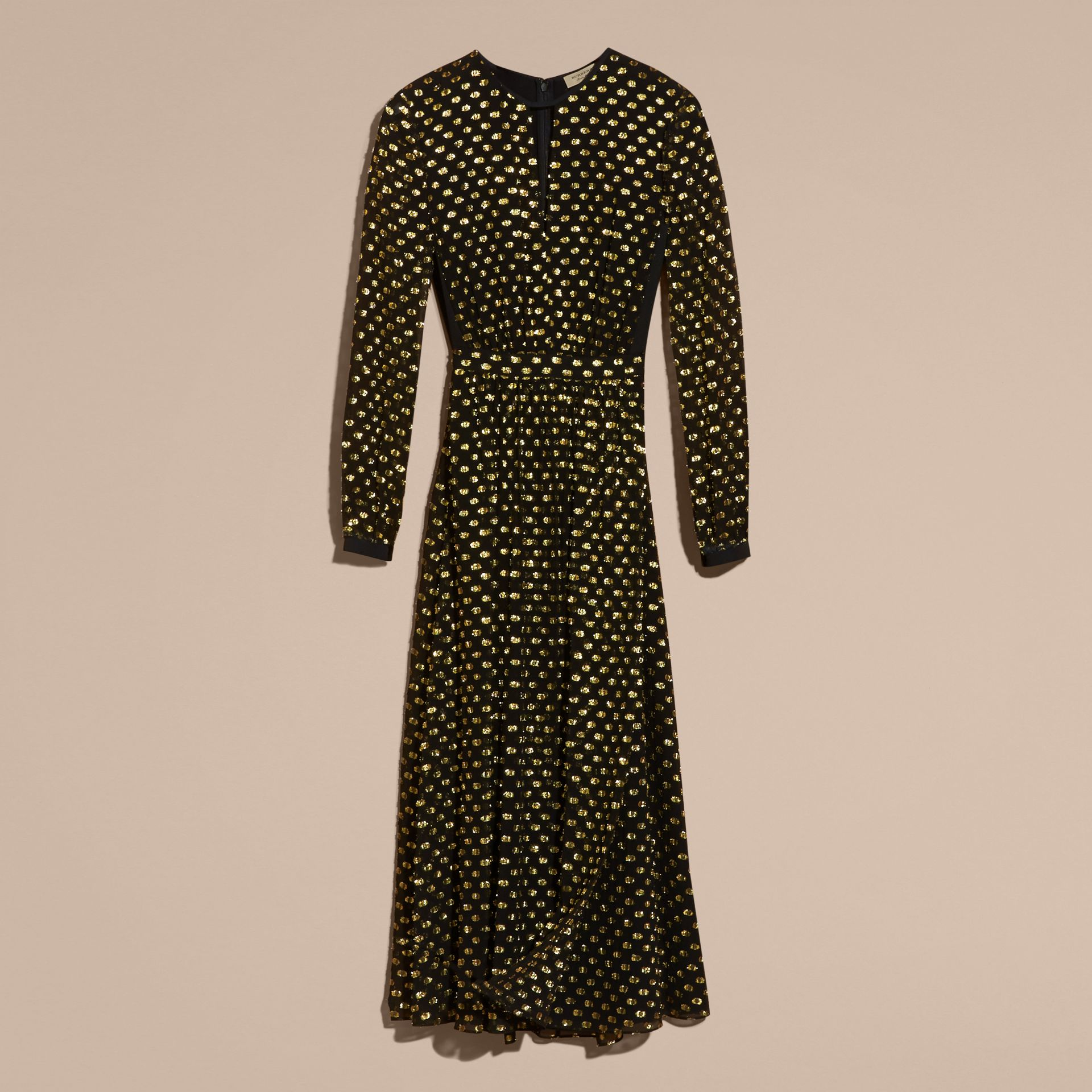Gold/black Metallic Polka Dot Long-sleeved Silk Dress - gallery image 4