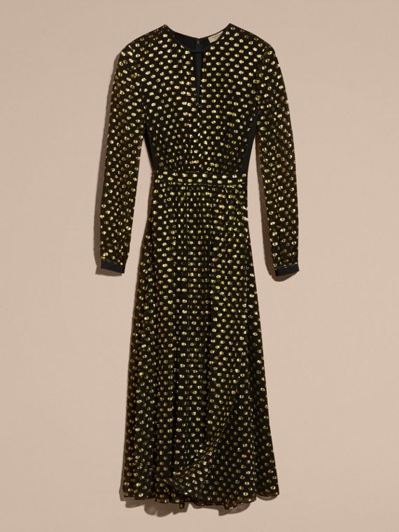 Gold/black Metallic Polka Dot Long-sleeved Silk Dress - cell image 3