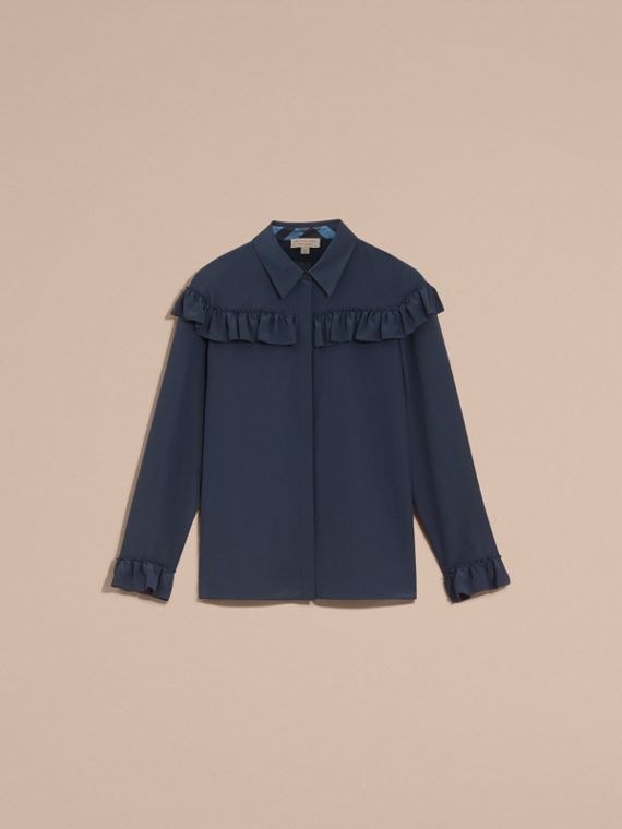 Frill Detail Silk Crepe De Chine Shirt in Navy - cell image 3