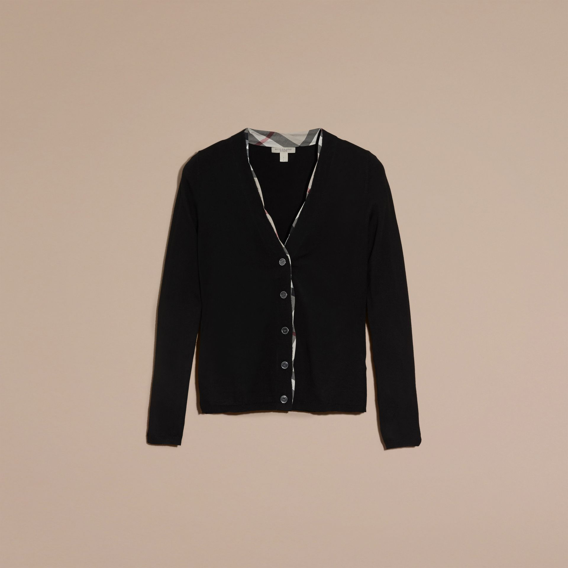Check Placket Wool Cardigan in Black - Women | Burberry - gallery image 4