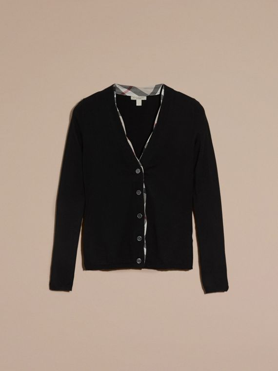 Black Check Placket Wool Cardigan Black - cell image 3