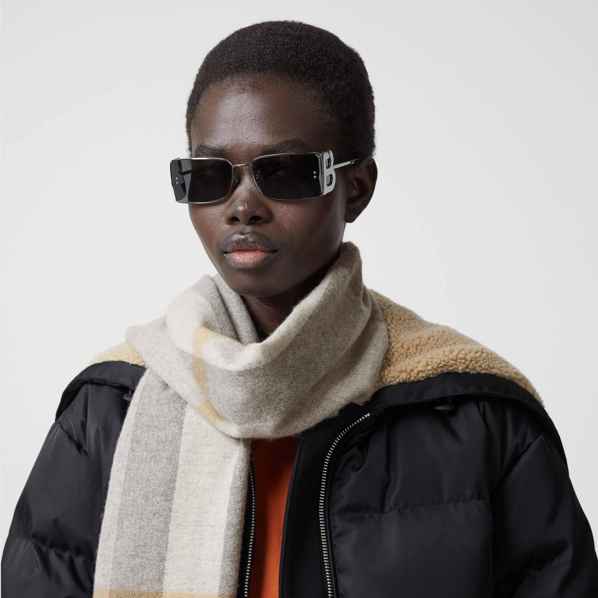 Check Cashmere Scarf in Light Grey | Burberry United States - gallery image 2