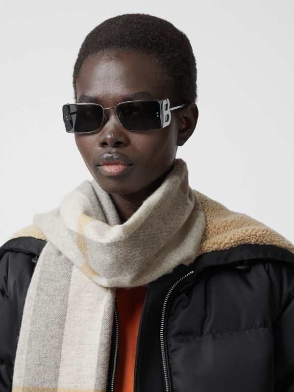 Check Cashmere Scarf in Light Grey | Burberry United States - cell image 2