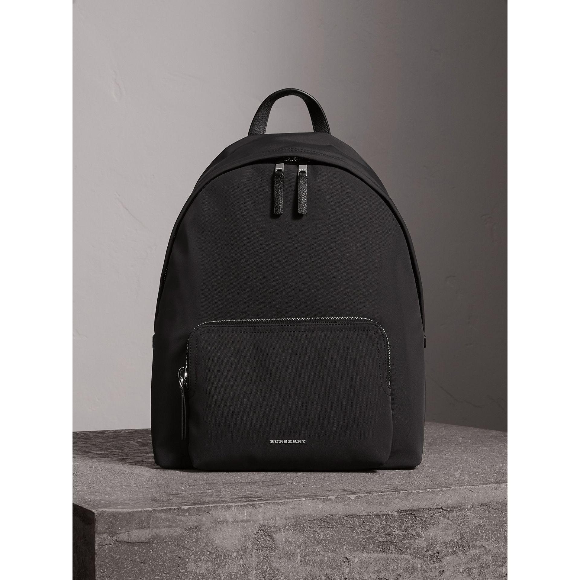 Leather Trim Technical Backpack in Black - Men | Burberry - gallery image 1