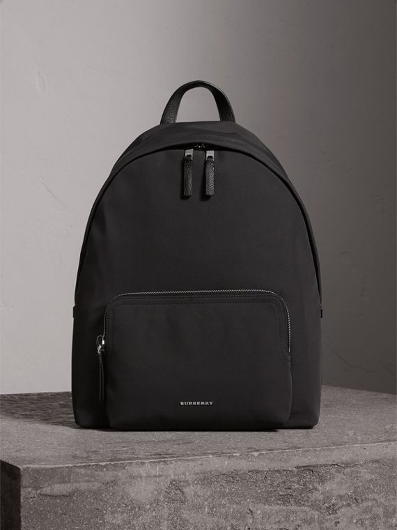 Leather Trim Technical Backpack in Black - Men | Burberry Australia