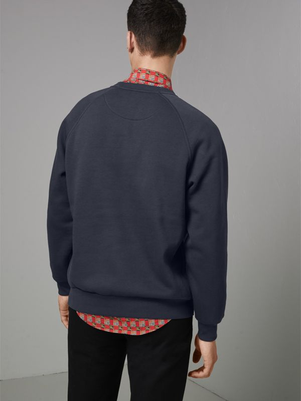 Embroidered Archive Logo Jersey Sweatshirt in Navy - Men | Burberry Singapore - cell image 2