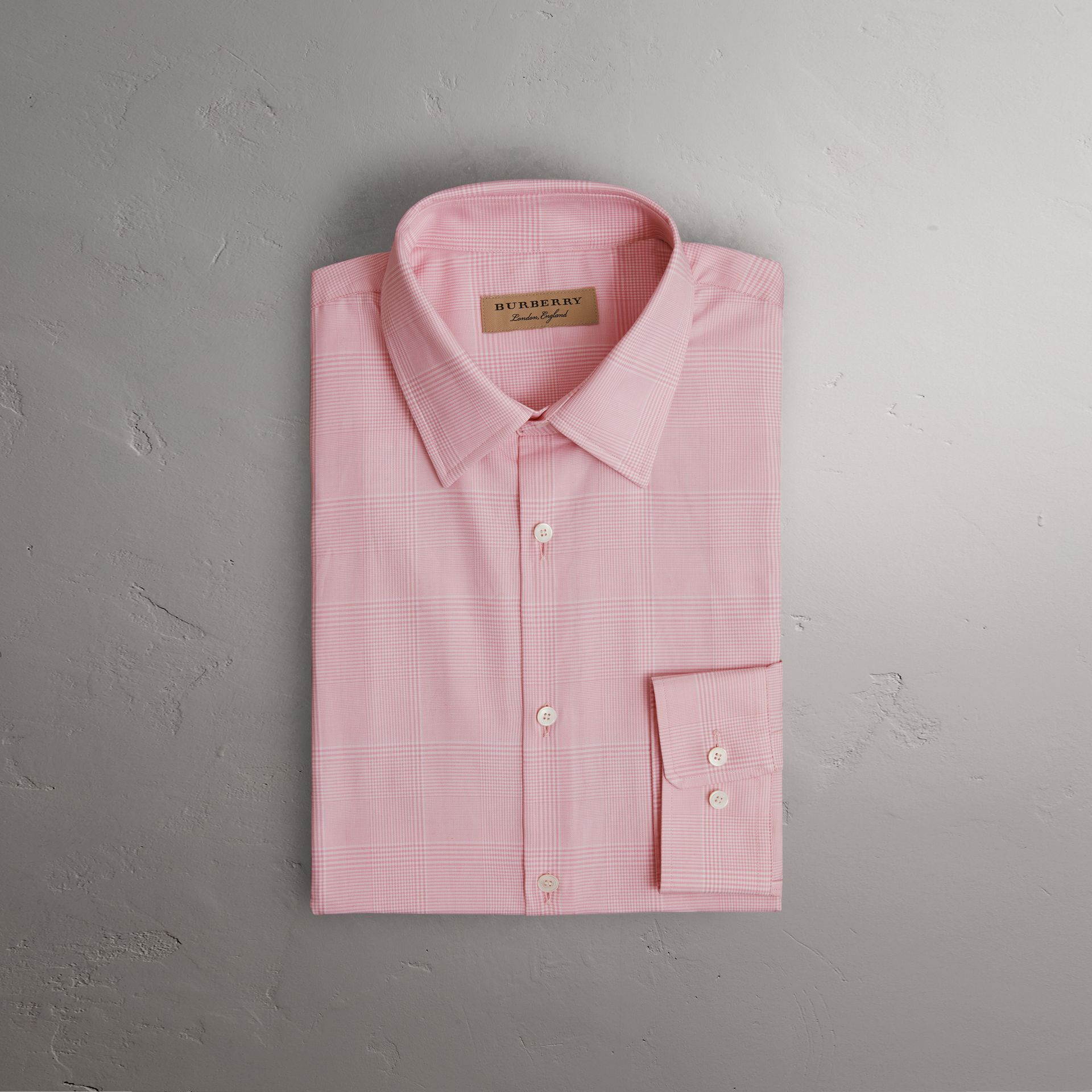 Modern Fit Check Cotton Shirt in Light Pink - Men | Burberry - gallery image 0