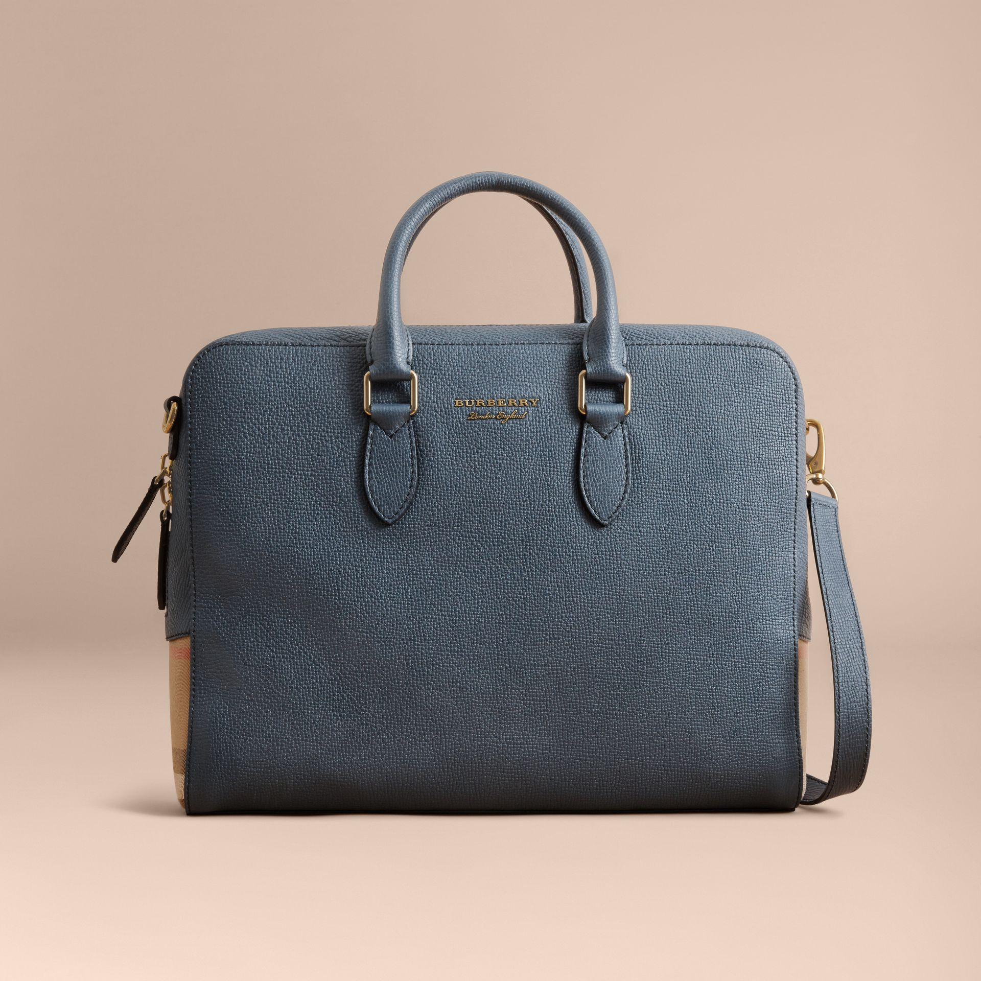 Leather and House Check Briefcase in Storm Blue - Men | Burberry - gallery image 8
