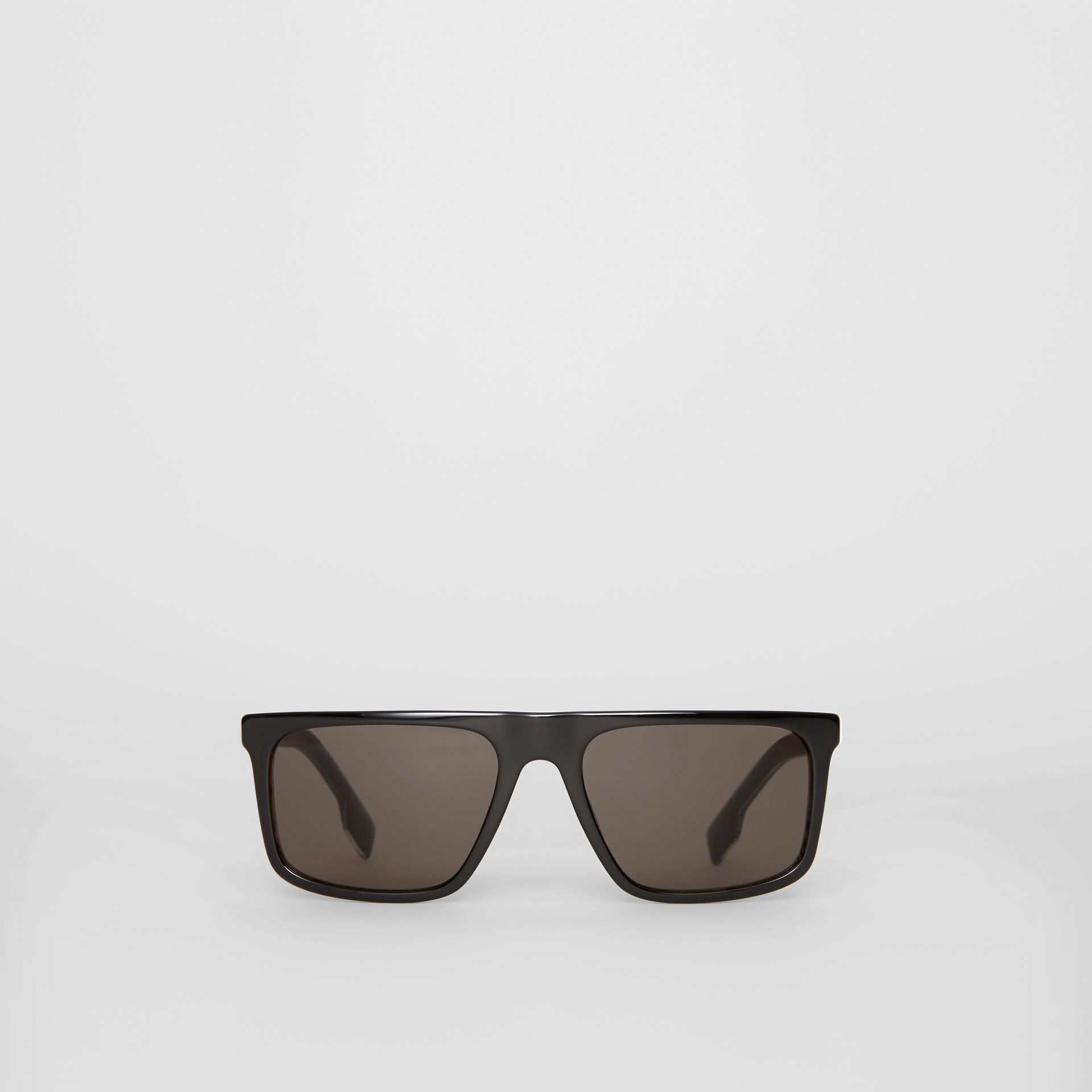 Vintage Check Detail Straight-brow Sunglasses in Black - Men | Burberry - gallery image 0