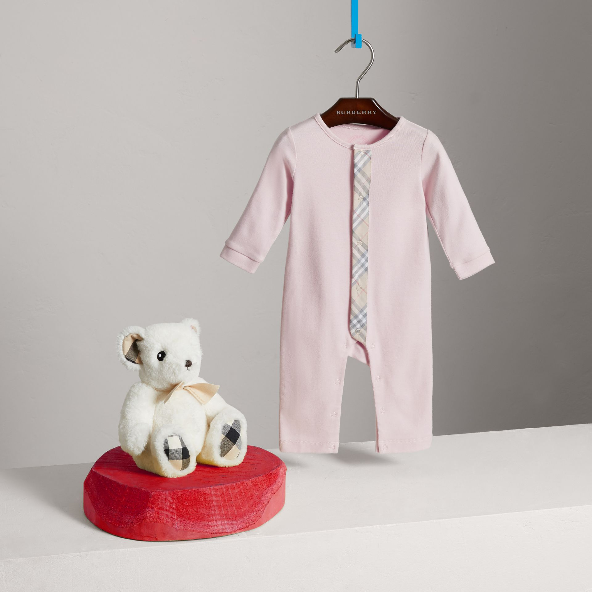 Check Trim Cotton Jumpsuit in Powder Pink - Children | Burberry - gallery image 2