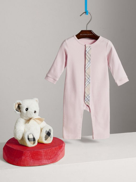 Check Trim Cotton Jumpsuit in Powder Pink | Burberry United Kingdom - cell image 2