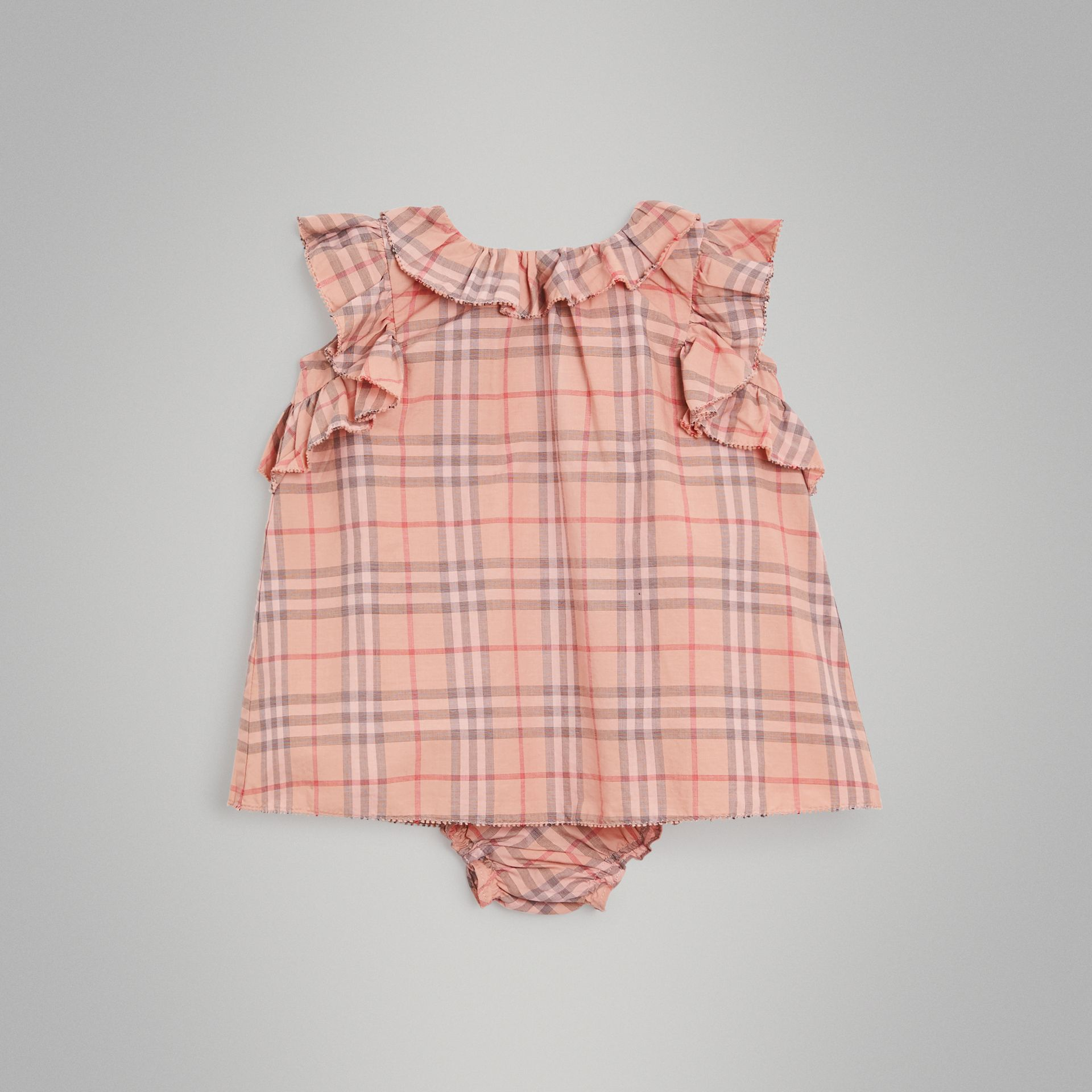 Ruffle Detail Check Cotton Dress with Bloomers in Light Rose - Children | Burberry - gallery image 0